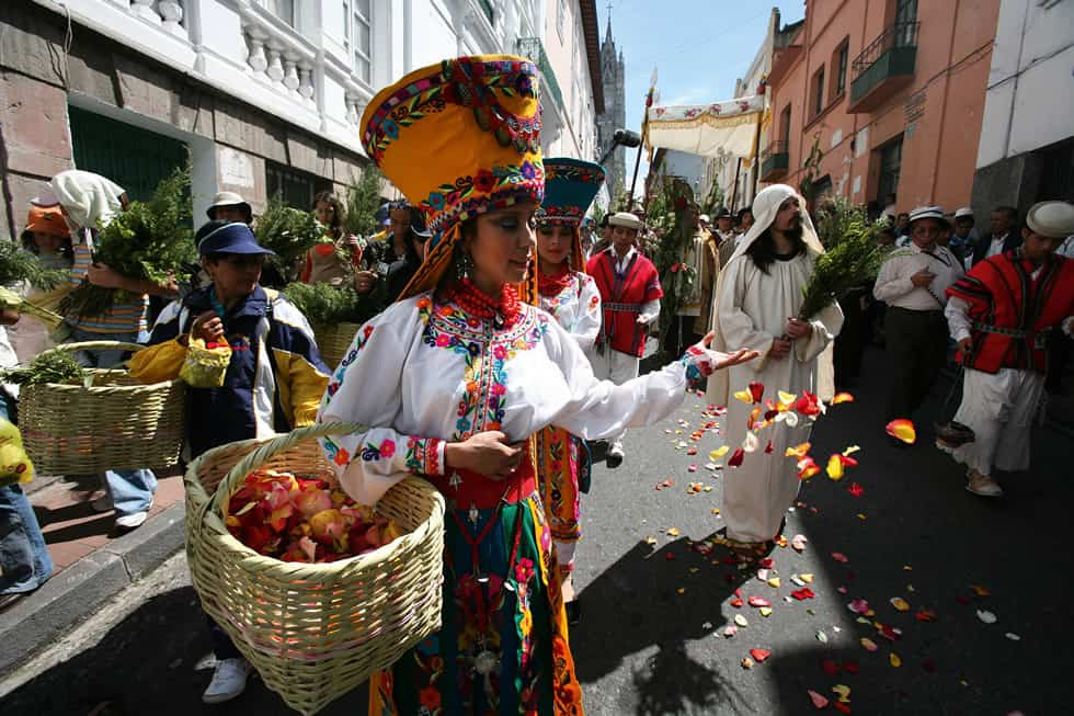 People in Quito's Holy Week during Palm Sunday procession.