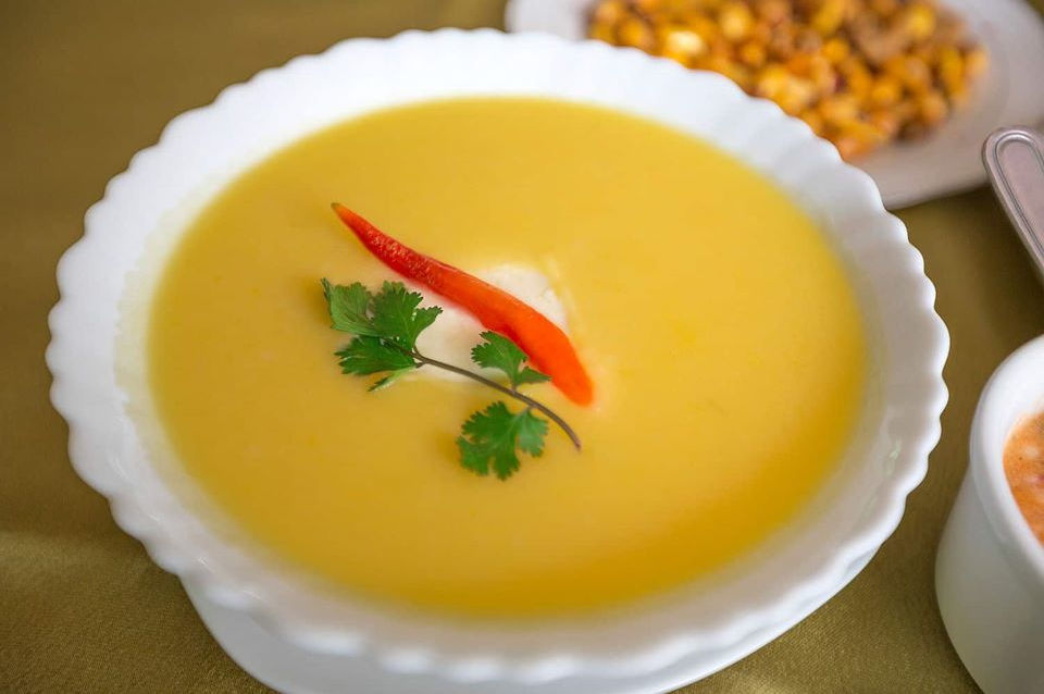 Locro soup in downtown Quito.