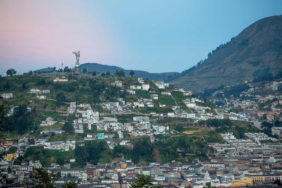 The view of El Panecillo in Quito's old town.