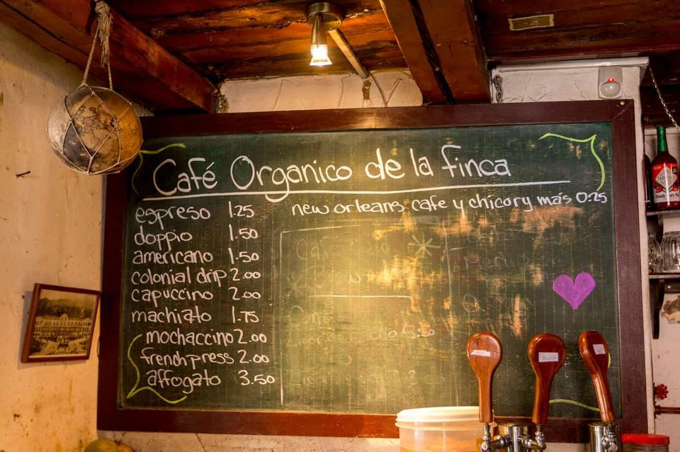 A coffee shop in Quito's old town.