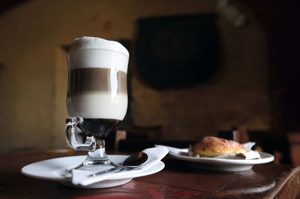 A cappuccino made in Quito's Old Town coffee shop.
