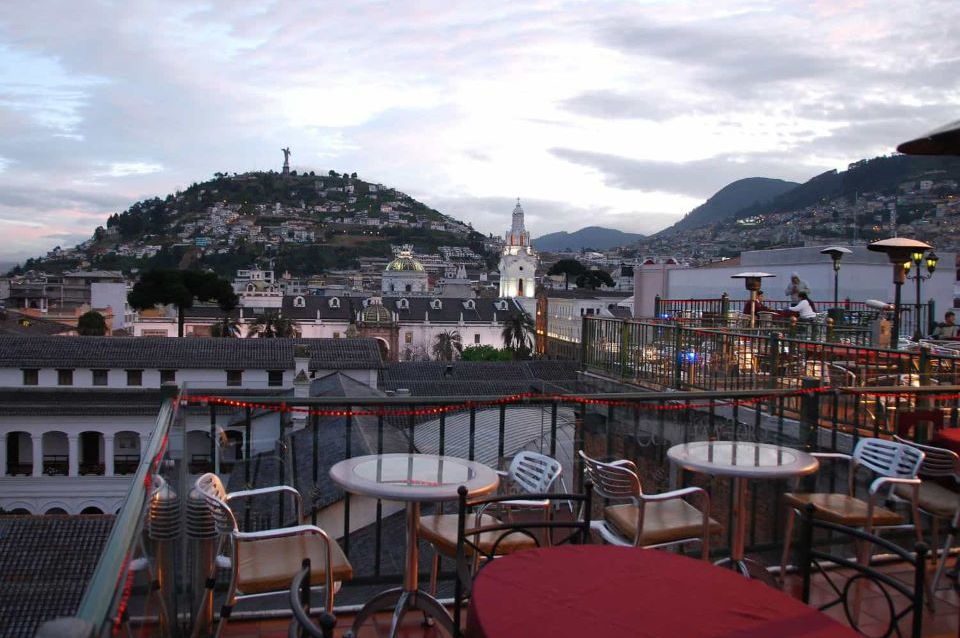 The view of El Panecillo from a rooftop in downtown Quito.