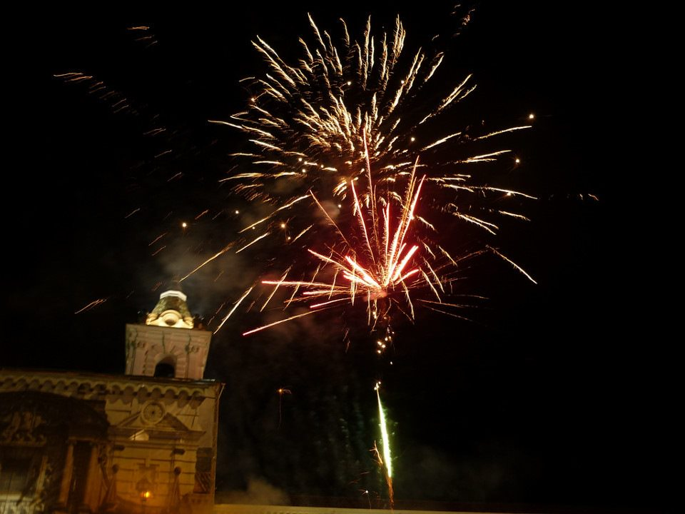Fireworks during Fiestas de Quito