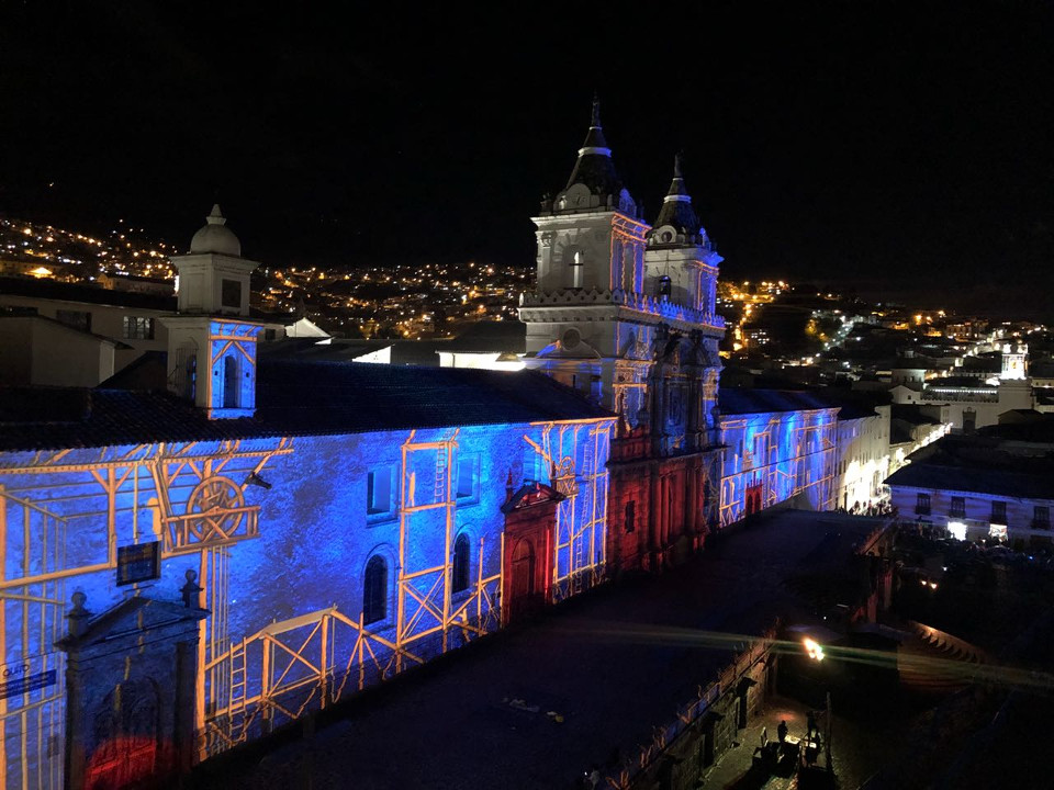 Festival of lights at San Francisco de Quito
