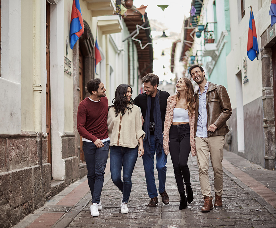 Guests exploring La Ronda Street in Old Town Quito